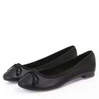 New Look Black Leather Look Ballets Pumps