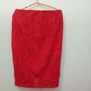 Monroe Red Lace Skirt