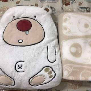 南極熊抱枕毯