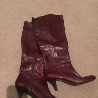 Nine West Brown Leather Boots Size 10