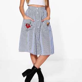 Boohoo striped button down midi skirt