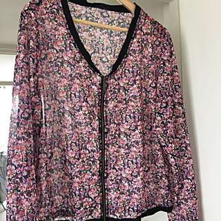 City Chic Sheer Floral Blouse Size 14-16