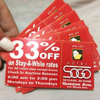 6 pcs. 33% Off SOGO HOTEL (QUEZON AVE. BRANCH)
