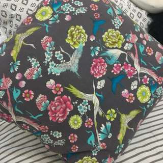 Cushion Grey and floral pattern
