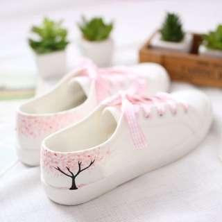 預購森女低幫日系櫻花手繪帆布鞋