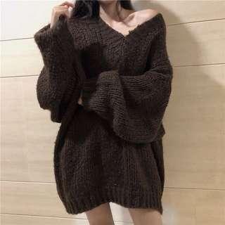 寬松百搭慵懶風顯瘦粗線針織V領上衣氣質新款套頭馬海毛毛衣潮女