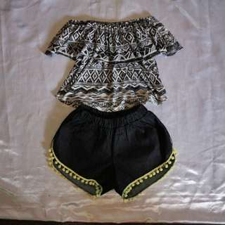 Aztec Off Shoulder With Maong Shorts
