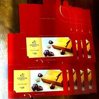 Godiva gift coupon $50 with envelopes $50 現金卷 共9張(每張$39)連信卡