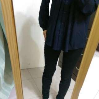 [上班族二手拍賣]NETV領深藍紗上衣8