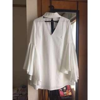 White Bell Sleeve Dress