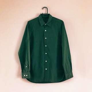 日本帶回 無印良品 墨綠 長袖基本款襯衫