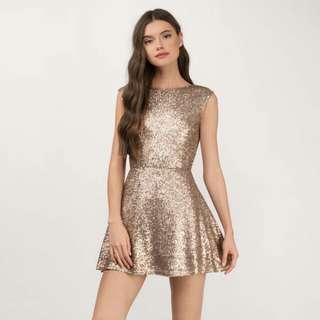 TOBI Matte Gold Skater Dress