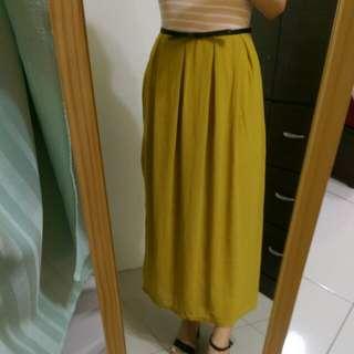 [上班族二手拍賣]韓版修身銘黃附內裡薄紗裙