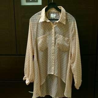 [上班族二手拍賣]日系薄紗復古粉色圓點襯衫