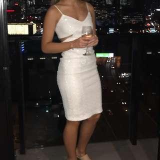 Bardot Jagger Cutout white sequin dress, size 6