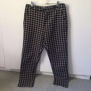 Black grid pants