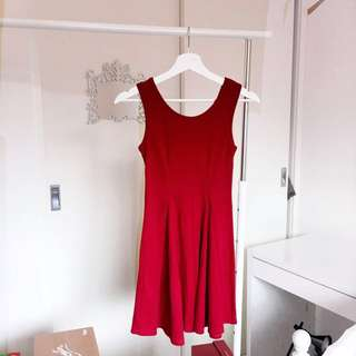Simple flared out cotton red dress