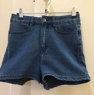 Revival blue high waisted denim shorts
