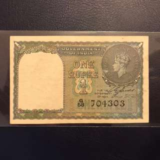 Government of India 1940 King George VI One Rupee note