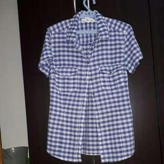 Checkered polo - blue