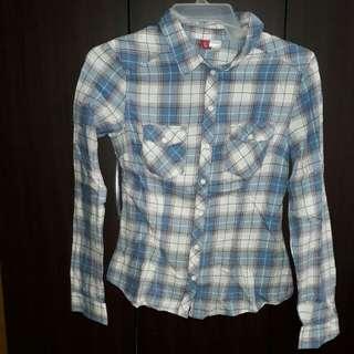 Checkered Polo long sleeves (blue & white)