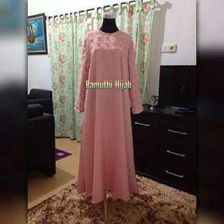 Dress Muslim Bigsize Linen Ruby Peach