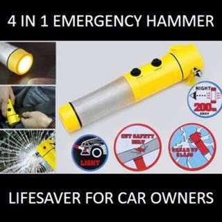 ★[NEW] SALE★ 4-in-1 Emergency Safety Hammer with LED Flashlight: Must-Have Lifesaver Tool for Vehicle Owners.