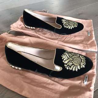 MiuMiu Burdeos Embroidered Crystal Accented Flats in Black