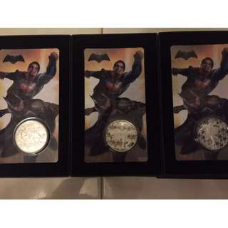 2016 Batman v Superman: Dawn of Justice Medallions  (FULL 3 coins SET Series)