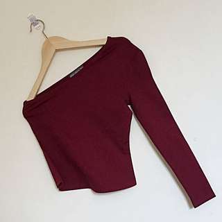 [YOUNG HUNGRY FREE] MAROON HALF LONG SLEEVE TOP
