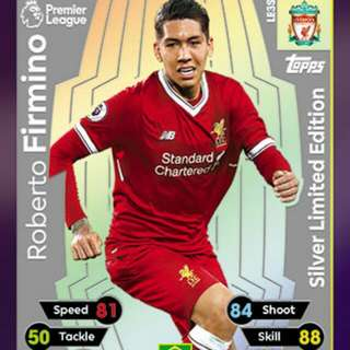 Match Attax 17/18 Firmino Silver Limited Edition