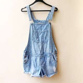 COTTON ON Polkadot Denim Shortalls