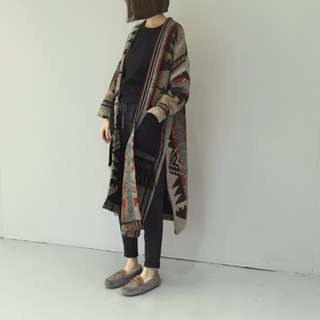 (預)秋冬復古印花開叉流蘇寬鬆毛呢外套大衣