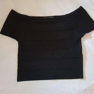 Bandage Black off the shoulder crop