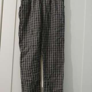Grey Grid Cropped Pants