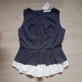 BNWT LAB Navy Blue Peplum Blouse