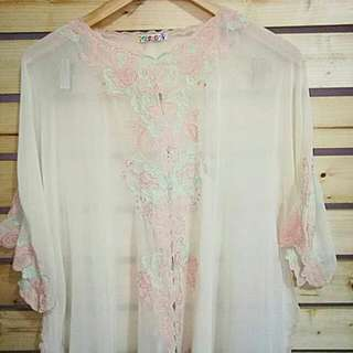 Blouse Bordir Mom dan Anak Peach