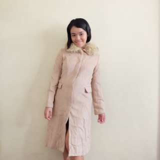 Blush Trench Coat with Soft Fur
