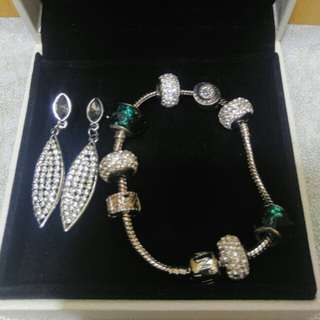Pandora Inspired bracelet with free silver earrings