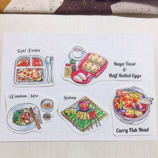 Singapore Food stickers (5 types)