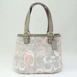 Coach Soho White, Grey, Peach Signature Linen Tote Shoulder Bag