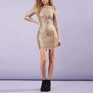 Rose Gold Bodycon Dress with Sleeves Sequins Glitter fine