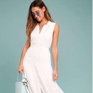 LULUs collared white maxi dress