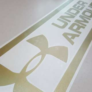 Original Under Armour Glossy Gold Vinyl Sticker for Vehicles (40cm by 10.6cm)