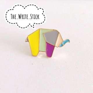 Origami Rainbow Elephant Enamel Pin Instocks