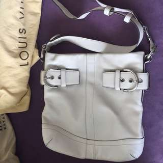 COACH Buckle Soho Convertible Ivory/ white Leather Crossbody Slim Shoulder Bag