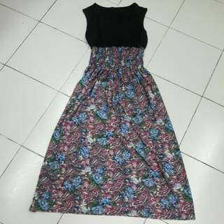 Bohemian Dress - Pink with Blue Flower