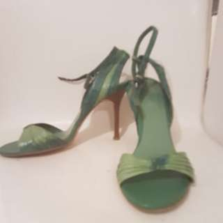 Green leather wooden heels