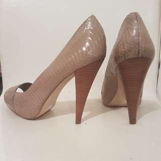 Nude snake skin heels