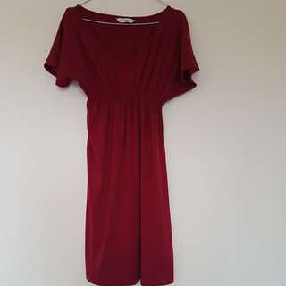 Red fitted waist flowy dress